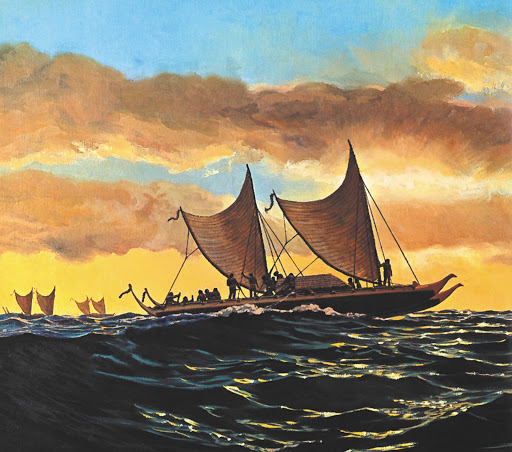 Double-hulled voyaging canoe
